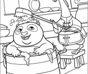 Coloring pages Po takes a bath in Kung Fu Panda