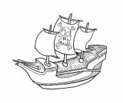 Coloring pages Easy pirate ship for free