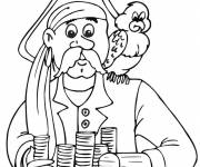 Coloring pages Pirate and his faithful parrot