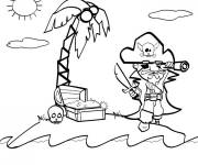 Coloring pages Pirate and Treasure Island