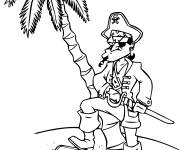 Coloring pages Serious pirate and his treasure