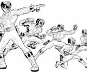 Coloring pages Power Rangers in black and white