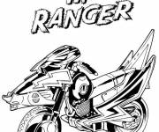 Coloring pages Red Power Rangers Moto