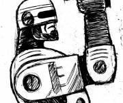Coloring pages Robocop carries his weapon