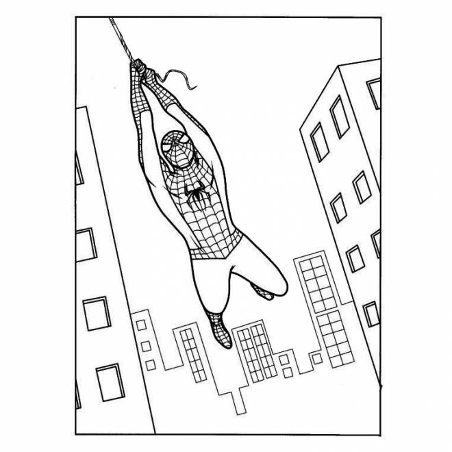 Free coloring and drawings Spiderman in the air Coloring page