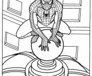 Free coloring and drawings Spiderman observing Coloring page