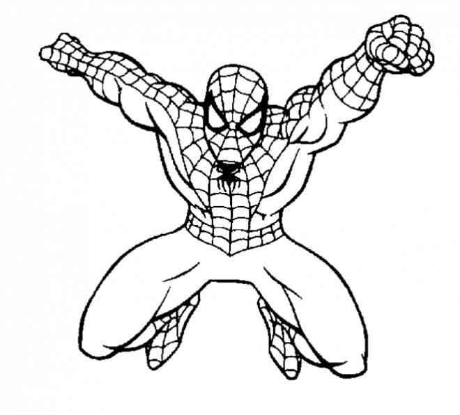 Free coloring and drawings Spiderman on the assault Coloring page