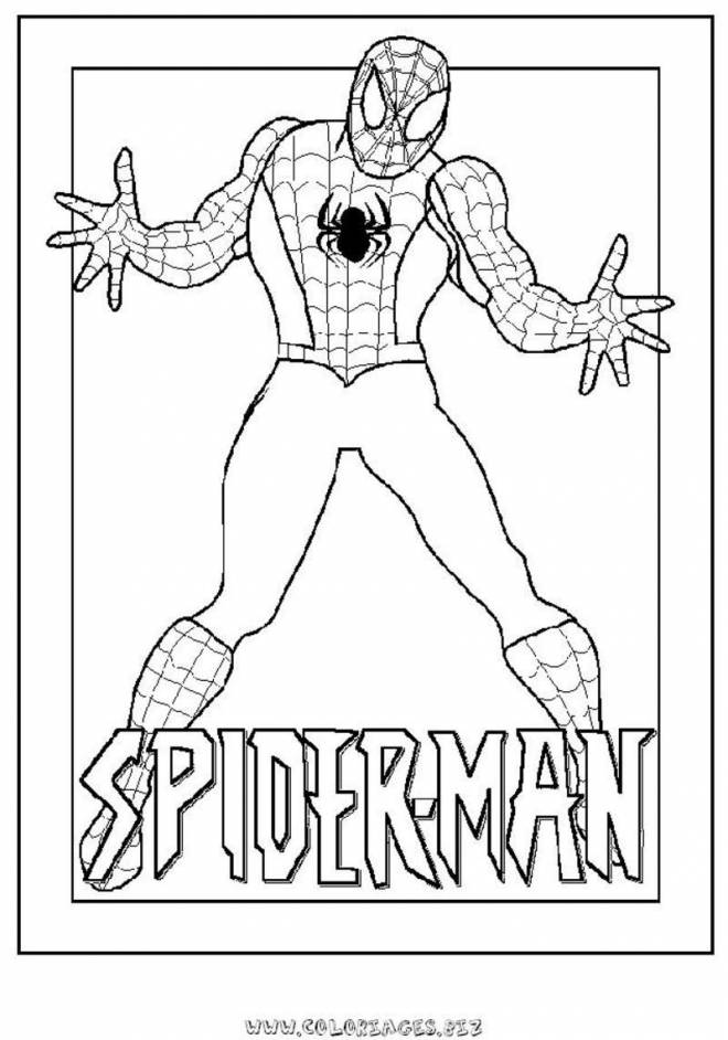 Free coloring and drawings Spiderman opens his arms Coloring page