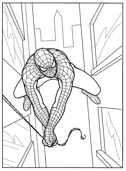 Free coloring and drawings Spiderman The Spider-Man between the skyscrapers Coloring page