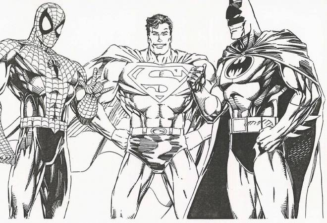 Free coloring and drawings Cut Out Super Heroes Coloring page