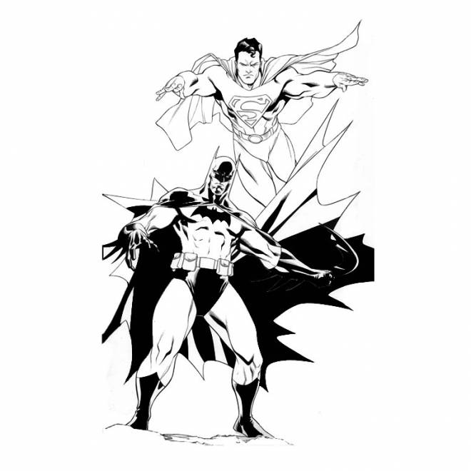 Free coloring and drawings Superman and Batman Coloring page