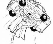 Free coloring and drawings Superman saves the driver Coloring page