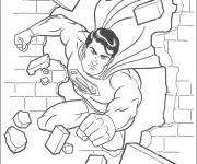 Coloring pages Superman tore down the wall