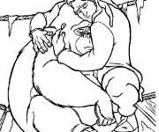 Coloring pages Tarzan and his friend Tantor