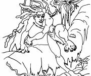 Coloring pages Tarzan on the tree