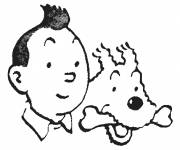 Coloring pages Heads of Tintin and Snowy
