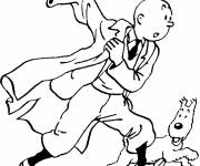 Coloring pages Tintin and Milou