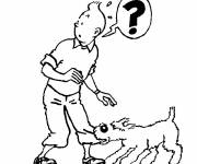 Coloring pages Tintin and Snowy for Children