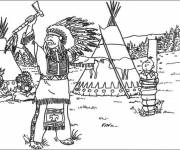 Coloring pages Tintin and the Indians