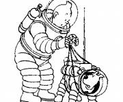 Coloring pages Tintin on the Moon