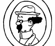 Coloring pages Tintin Professor Sunflower