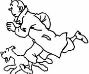 Coloring pages Tintin running