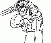 Coloring pages Wolverine with his arms in his hands