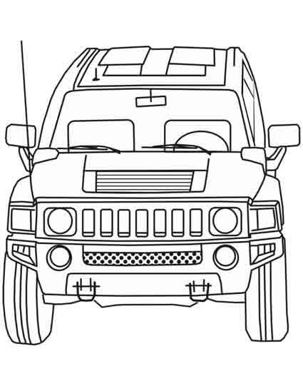 Free coloring and drawings 4 X 4 front view Coloring page