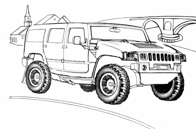 Free coloring and drawings 4 X 4 Hummer Car Coloring page