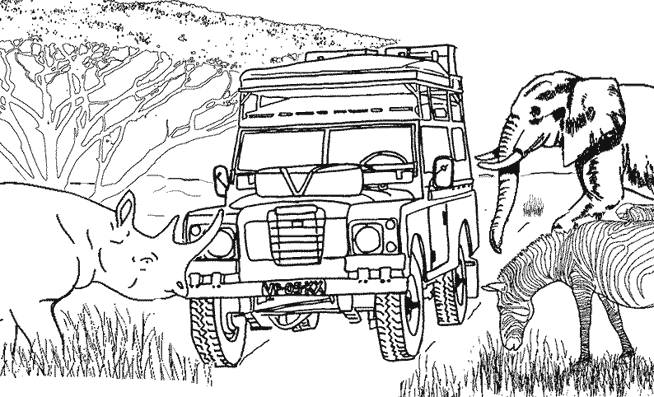 Free coloring and drawings 4 X 4 in Africa Coloring page