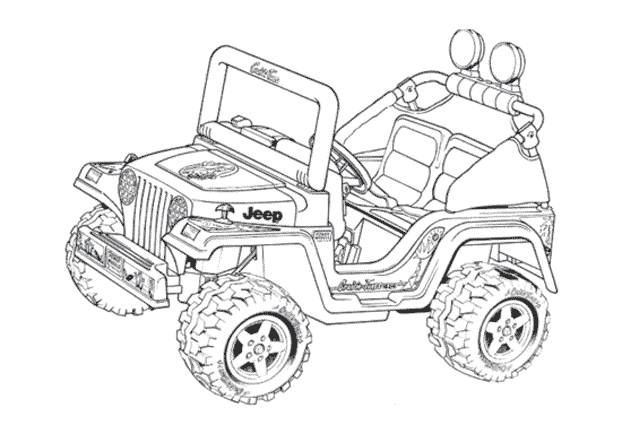 Free coloring and drawings 4 X 4 Jeep to cut Coloring page
