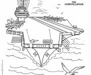 Coloring pages A color military aircraft carrier