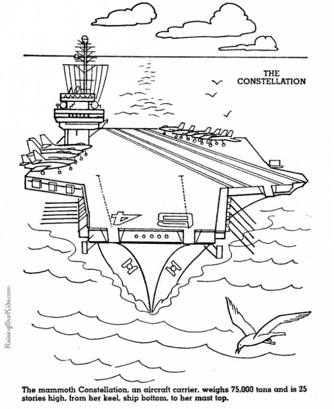 Free coloring and drawings A color military aircraft carrier Coloring page