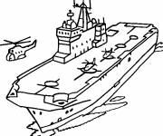 Coloring pages Aircraft carrier on the sea