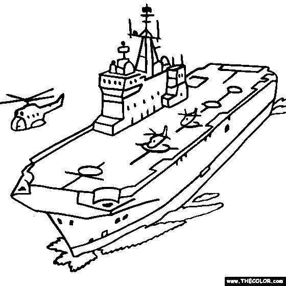 Free coloring and drawings Aircraft carrier on the sea Coloring page