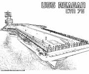 Free coloring and drawings Aircraft carrier USS Reagan Coloring page