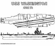 Coloring pages Aircraft carrier USS Washington