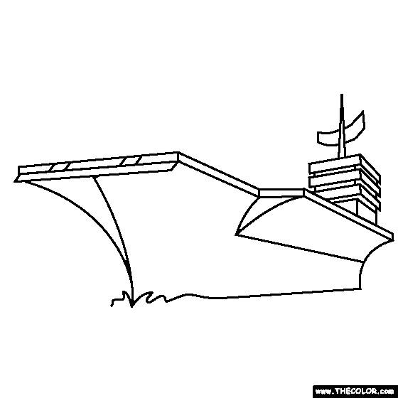 Free coloring and drawings American aircraft carrier Coloring page