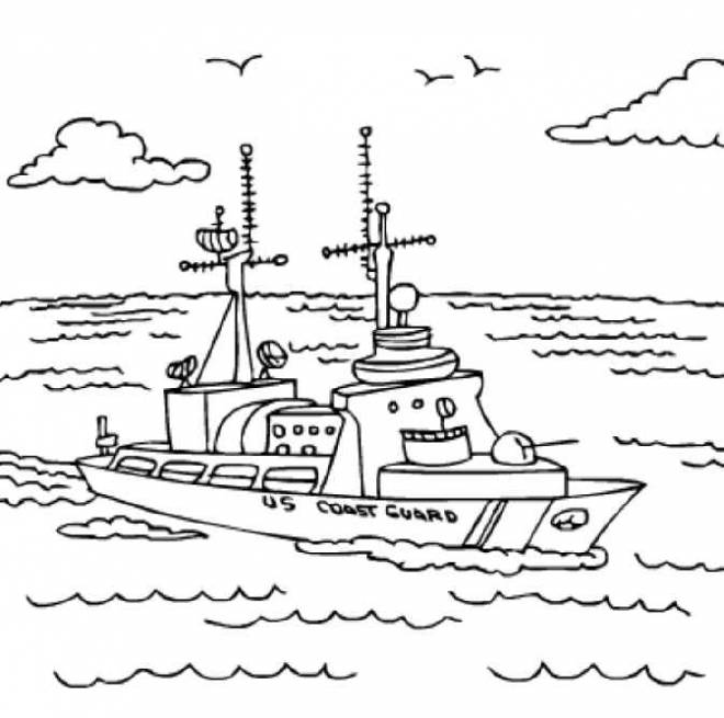 Free coloring and drawings Coast Guard Ship on the sea Coloring page