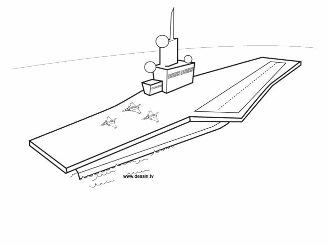 Free coloring and drawings Military aircraft carrier Coloring page