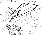 Coloring pages Military aircraft leaves the aircraft carrier