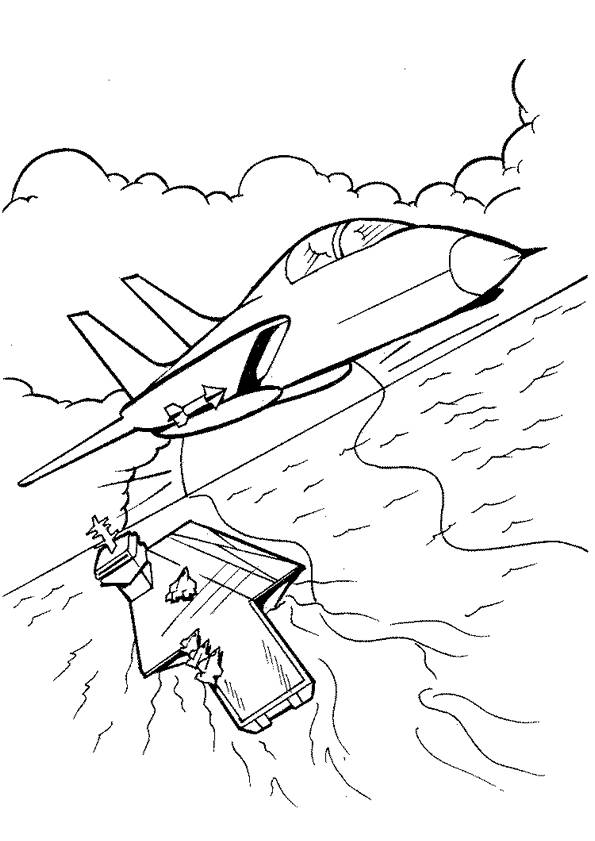 Free coloring and drawings Military aircraft leaves the aircraft carrier Coloring page