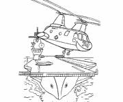 Coloring pages Military helicopter in black and white