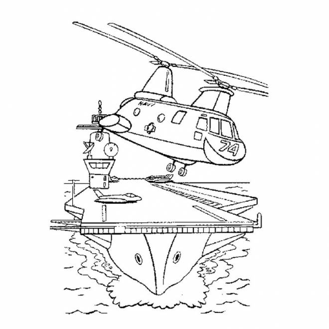 Free coloring and drawings Military helicopter in black and white Coloring page