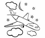 Coloring pages Civil aircraft under the clouds
