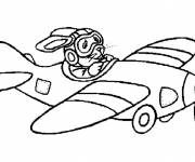 Coloring pages Rabbit piloting the plane