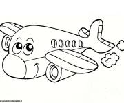 Coloring pages Smiling airplane