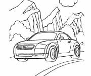 Coloring pages Audi car in the Mountain