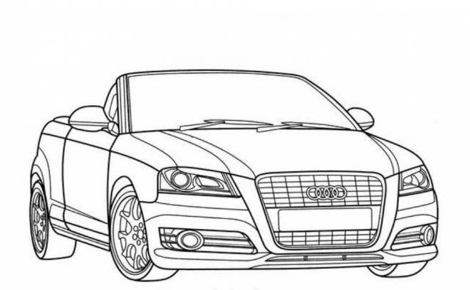 Free coloring and drawings Audi convertible in black and white Coloring page