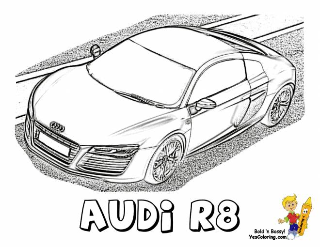 Free coloring and drawings Audi R8 model Coloring page